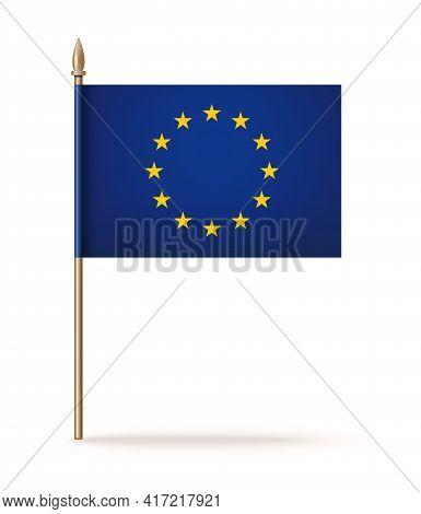 European Union Flag On Wooden Pole. European Union Flag Isolated On White Background. Vector Illustr