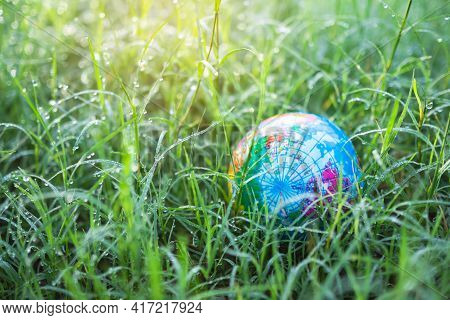 Globe Or Earth On Fresh Dew Grass With Sunlight. Saving  Protect, Environment, Arbor Day, Card For W