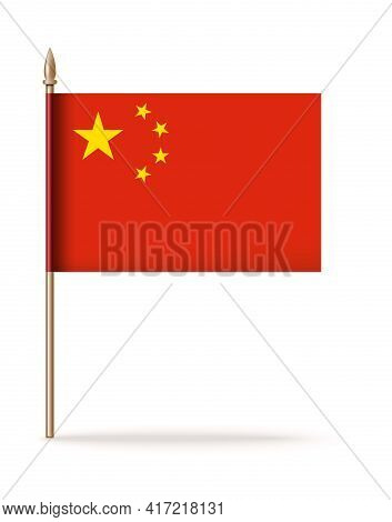 Flag Of China Icon. Peoples Republic Of China Flag On A Golden Flagpole. Vector Illustration Isolate