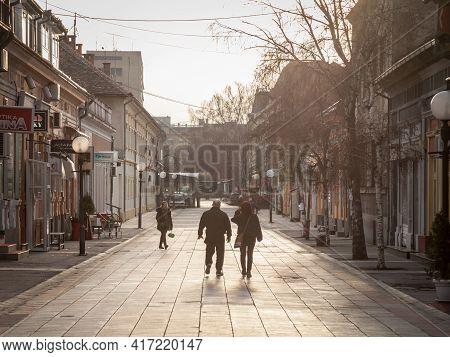 Pancevo, Serbia - March 5, 2021: People Walking On Njegoseva Ulica Street, A Pedestrian Street Of Th