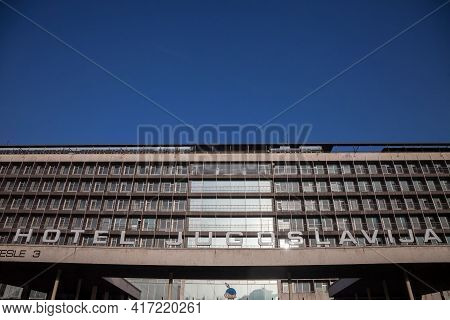 Belgrade, Serbia - January 27, 2017: Main Facade Of Hotel Jugoslavia, In Novi Beograd District, A De