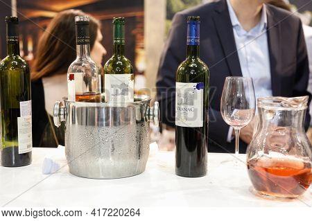 Belgrade, Serbia - January 26, 2017: Bottles Of Red Wine Vranac From Serbia On Display At A Wine Tas