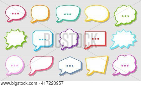 Retro Sketch Speech Bubble Icon Set. Cartoon Pop Art Bubbles With Colorful Contour. Vector Design Fu