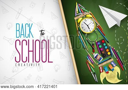 Back To School Vector Concept Design. Back To School Creativity Text With Education Supplies In Rock
