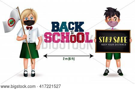 School Character Vector Design. Back To School Text With Student 3d Characters In Social Distancing