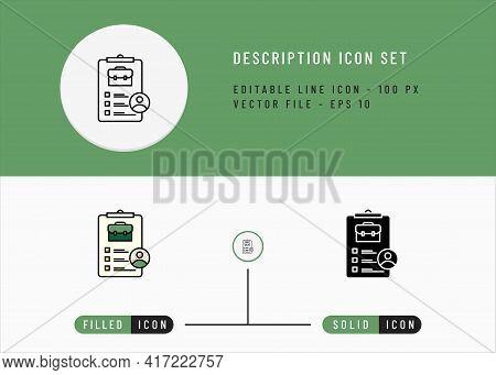 Description Icons Set Editable Stroke Vector Illustration. Employment Business Symbol. Icon Line Sty