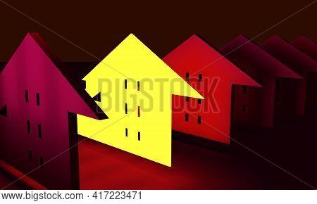 Real Estate Concept. Neon Shine Outstanding Icon