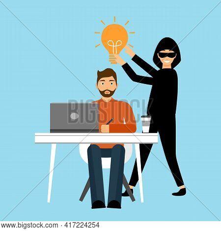 Thief Stealing Lightbulb From Businessman In Flat Design. Business Idea Thief. Data Or Idea Stealing