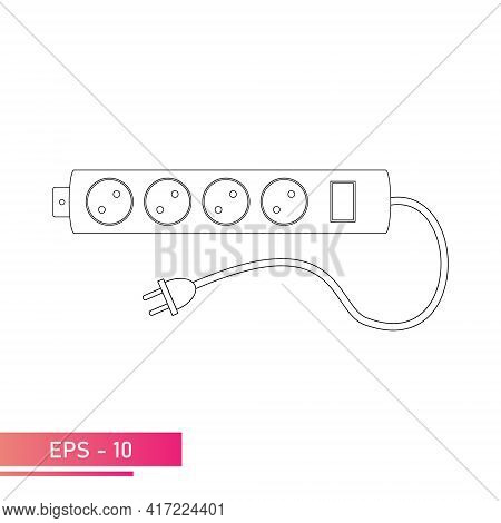 The Outlet Is An Extension Cord. Four Sockets With Plug And Power Button. Linear Design. 220 110 Vol
