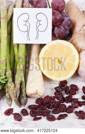 Best Nutritious Food For Kidneys Health. Concept Of Healthy Eating Containing Natural Vitamins