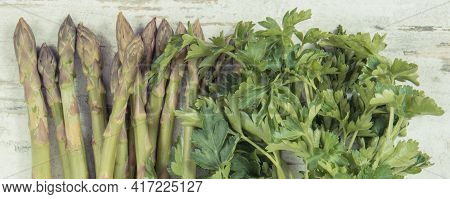 Natural Green Vegetables. Concept Of Nutritious Eating As Source Vitamins And Minerals