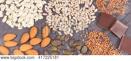 Nutritious Eating Containing Magnesium. Healthy Nutrition As Source Natural Vitamins, Minerals And D