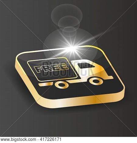 Golden Isometric Free Delivery Icon. Free Shipping Delivery Service Logo Badge  On A Black Backgroun