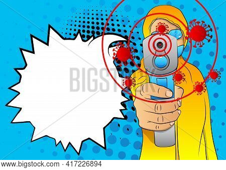 Woman In Protective Suit With Thermometer Measure Temperature. Comic Book Vector Illustration Of A D