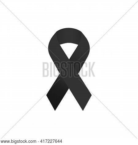 Illustration Vector Graphic Of Black Ribbon Symbolizing Concern For Skin Cancer. Also Used To Symbol