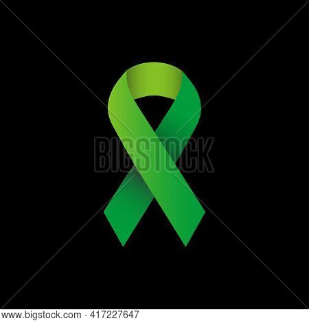 Illustration Vector Graphic Of Green Ribbon Symbolizes Concern For Eye Cancer, Depression, Missing C