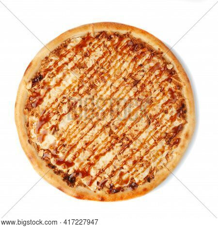 Sweet Pizza With Butter Cream, Peanuts, Caramel And Mozzarella Cheese. View From Above. White Backgr