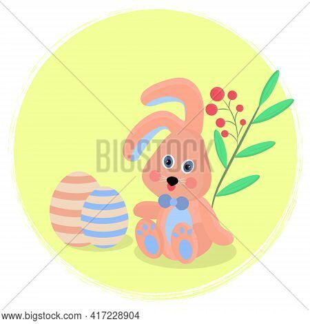 Greeting Card With Easter Bunny. Toy Bunny With Easter Eggs On A Background Of Plants