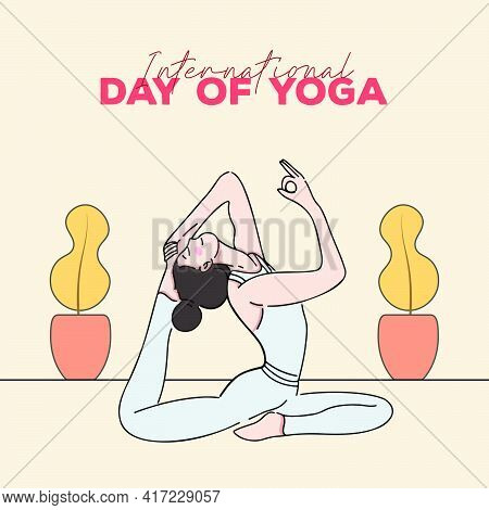International Day Of Yoga Vector Illustration. Fitness, Sport, Training And Yoga Lifestyle Concept.