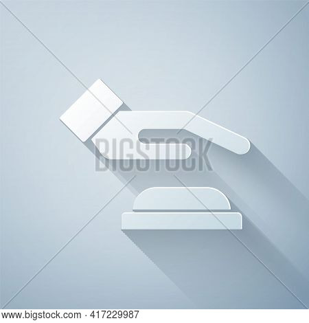 Paper Cut Palm Print Recognition Icon Isolated On Grey Background. Biometric Hand Scan. Fingerprint