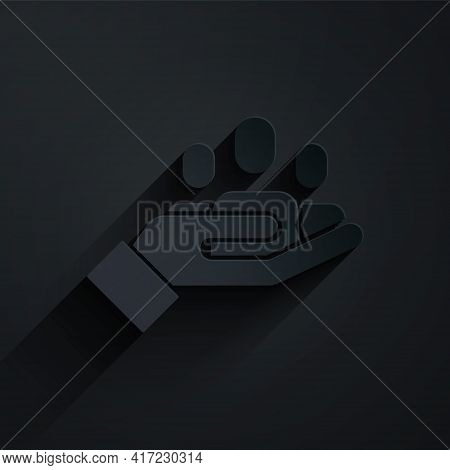 Paper Cut Hand For Search A People Icon Isolated On Black Background. Recruitment Or Selection Conce