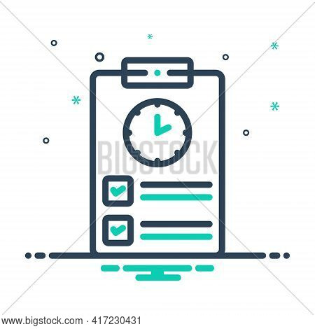 Mix Icon For Timesheet Countdown Overtime Schedule Timetable Timekeeping