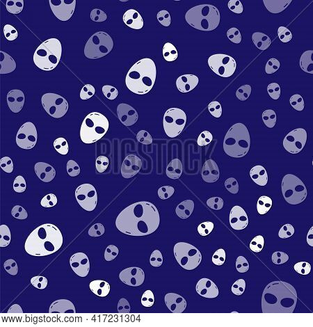 White Alien Icon Isolated Seamless Pattern On Blue Background. Extraterrestrial Alien Face Or Head S