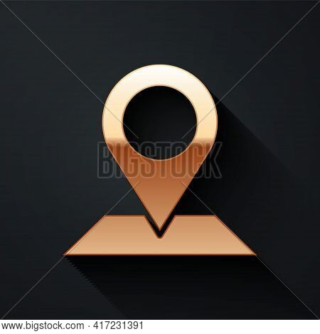 Gold Map Pin Icon Isolated On Black Background. Navigation, Pointer, Location, Map, Gps, Direction,