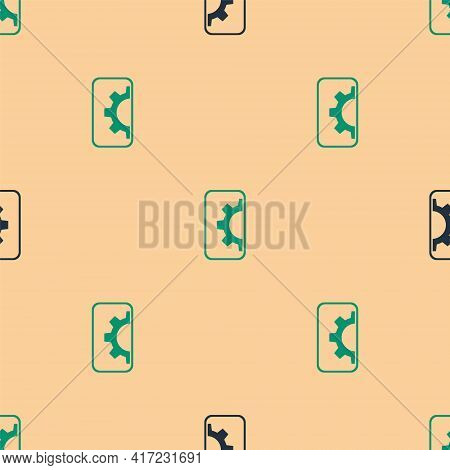 Green And Black Software, Web Development, Programming Concept Icon Isolated Seamless Pattern On Bei