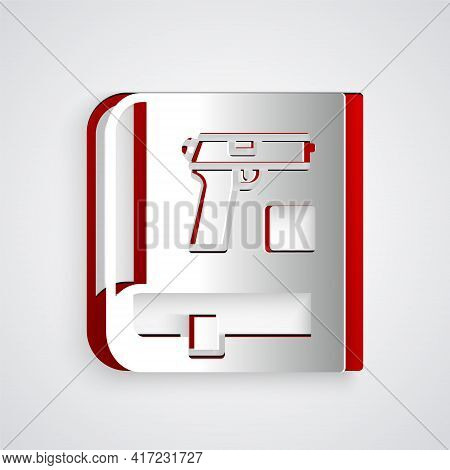 Paper Cut Book With Pistol Or Gun Icon Isolated On Grey Background. Police Or Military Handgun. Smal