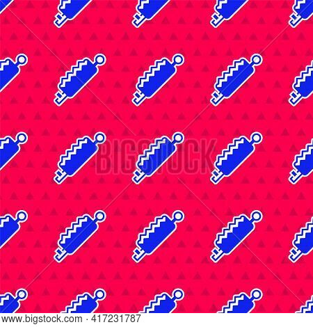 Blue Trap Hunting Icon Isolated Seamless Pattern On Red Background. Vector