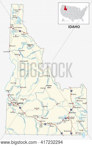 Road Map Of The Us American State Of Idaho