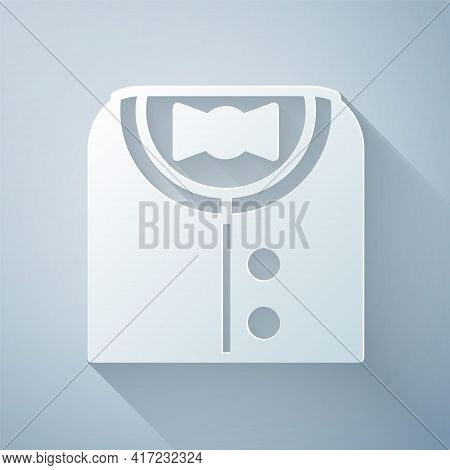 Paper Cut Suit Icon Isolated On Grey Background. Tuxedo. Wedding Suits With Necktie. Paper Art Style