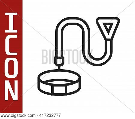 Black Line Collar With Name Tag Icon Isolated On White Background. Simple Supplies For Domestic Anim