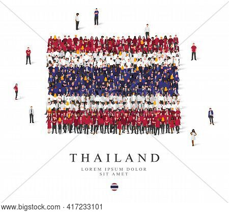 A Large Group Of People Are Standing In Blue, White And Red Robes, Symbolizing The Flag Of Thailand.