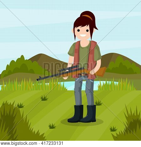 Man Hunter With A Gun. Survival In The Woods. Equipment For Hunting Animals. Green Forest, Trees, Fi