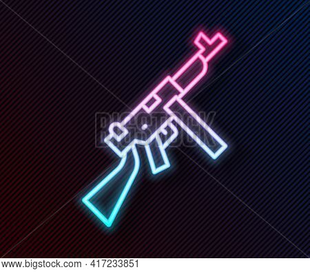 Glowing Neon Line Thompson Tommy Submachine Gun Icon Isolated On Black Background. American Submachi