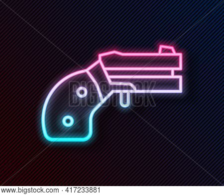 Glowing Neon Line Small Gun Revolver Icon Isolated On Black Background. Pocket Pistol For Self-defen