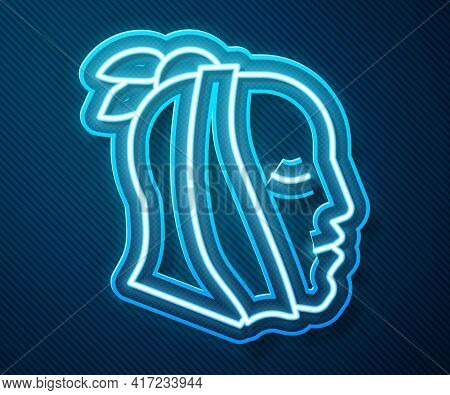 Glowing Neon Line Toothache Icon Isolated On Blue Background. Vector