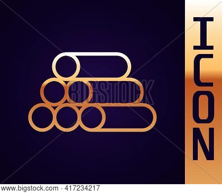 Gold Line Wooden Logs Icon Isolated On Black Background. Stack Of Firewood. Vector