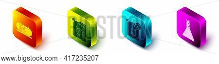 Set Isometric Oil Industrial Factory Building, Canister For Motor Machine Oil, Bio Fuel Canister And