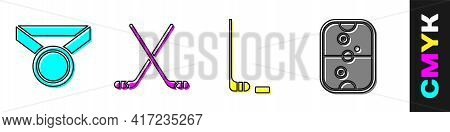 Set Medal, Ice Hockey Sticks, Ice Hockey Stick And Puck And Air Hockey Table Icon. Vector