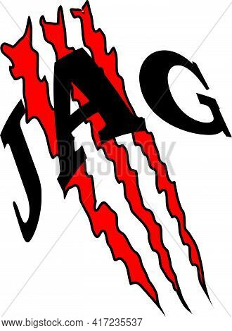 Abstract Pattern Consisting Of Three Red Scratches And The Word Jag For Printing On Clothes Or For T