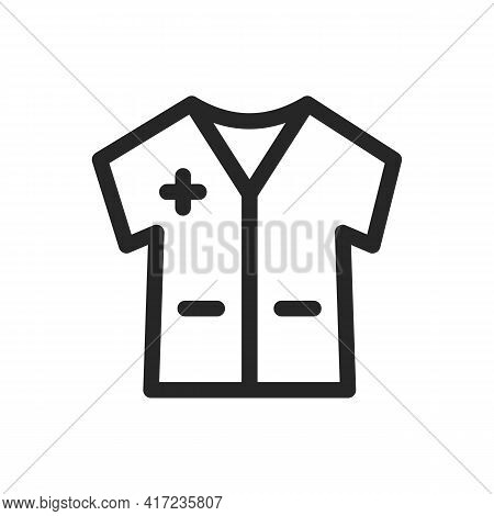 Medical Gown Icon For Doctors And First Aid Workers And Patients. Short Sleeve, Pockets. Vector Thin