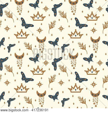 Background Of Golden Stars And Dark Butterflies. A Pattern With Illustrations Of Fluttering Insect W