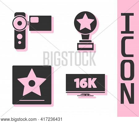Set Screen Tv With 16k, Cinema Camera, Hollywood Walk Of Fame Star And Movie Trophy Icon. Vector
