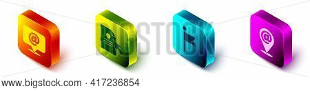 Set Isometric Mail And E-mail, Document And Cursor, Location Marker And Location And Mail And E-mail