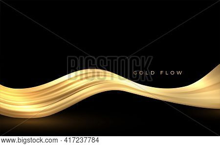 Abstract Gold Waves. Shiny Golden Moving Lines Design Element For Greeting Card And Disqount Voucher