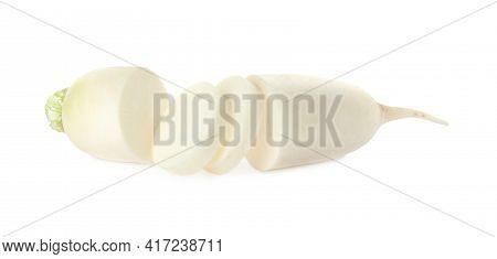 Cut Fresh Ripe Turnip On White Background