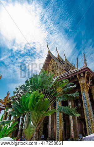 Bangkok, Thailand - January 19,2019: View Of Royal Grand Palace  In Bangkok. Royal Grand Palace Is F